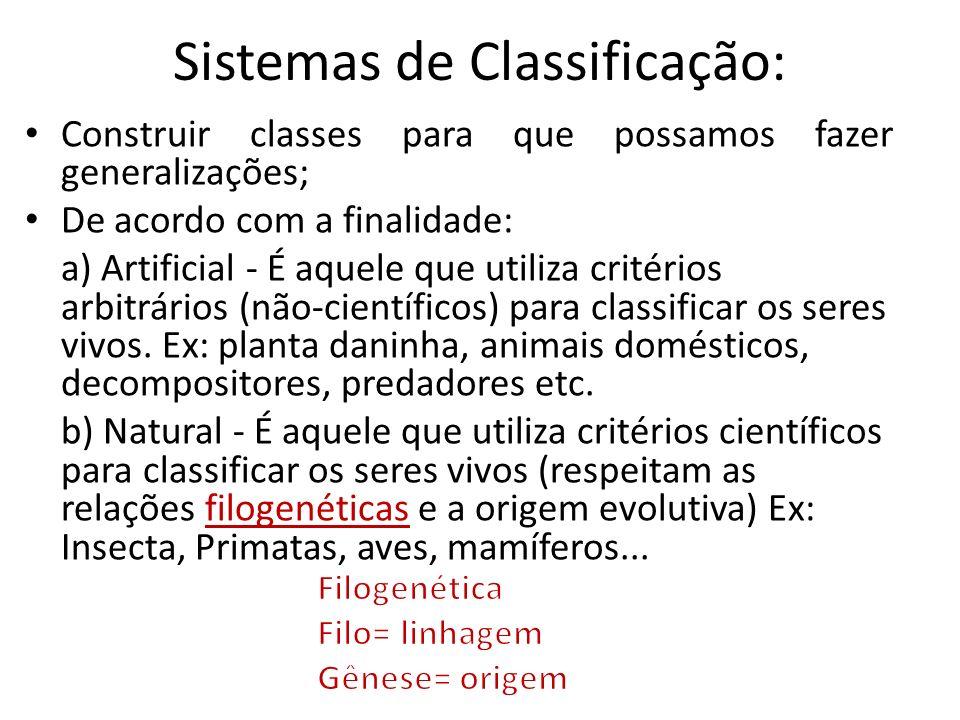 Sistemas de Classificação: Construir classes para que possamos fazer generalizações; De acordo com a finalidade: a) Artificial - É aquele que utiliza