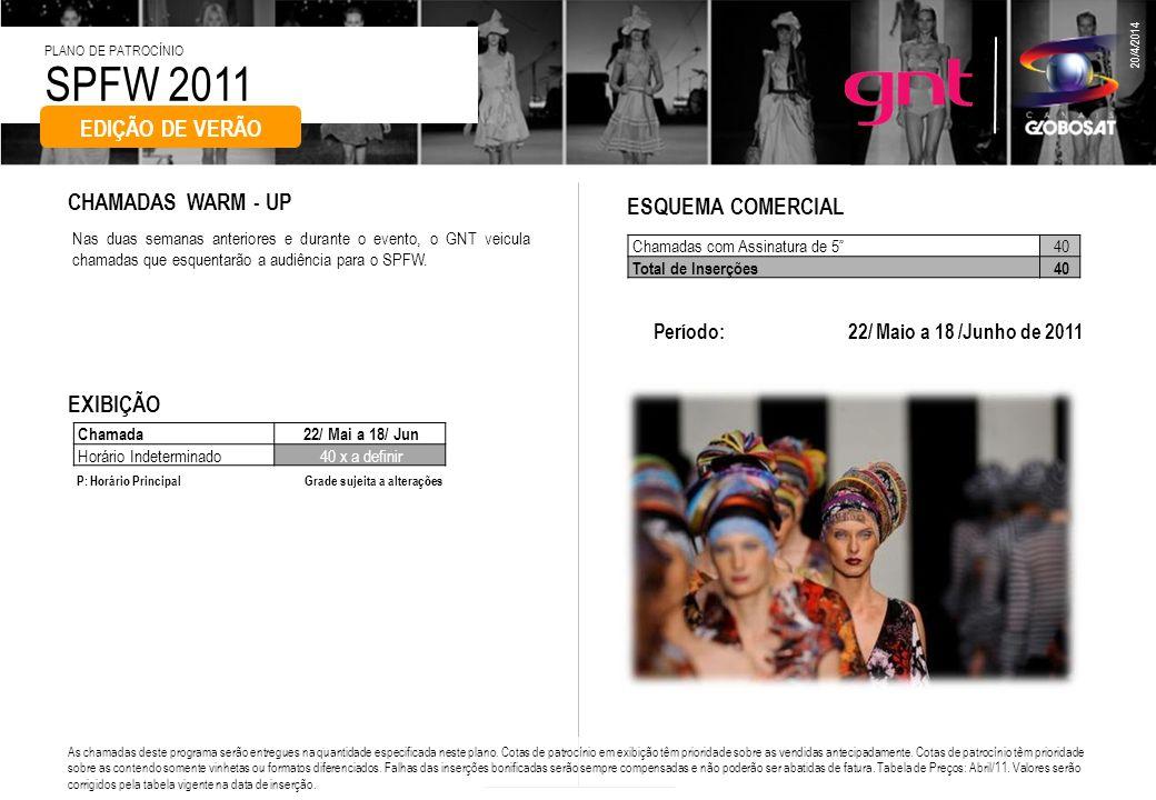 SPFW 2011 PLANO DE PATROCÍNIO 20/4/2014 O canal irá apresentar no período do evento, 24 flashes ao vivo de 5 com o que estiver acontecendo de mais quente no Pavilhão da Bienal.