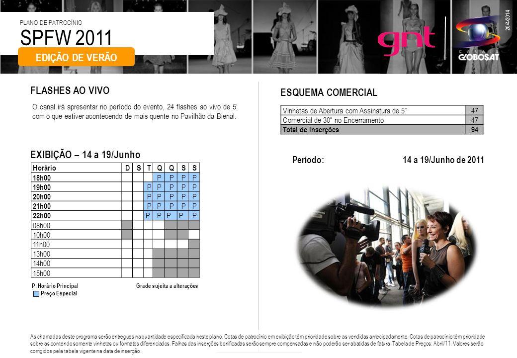 SPFW 2011 PLANO DE PATROCÍNIO 20/4/2014 O canal irá apresentar no período do evento, 24 flashes ao vivo de 5 com o que estiver acontecendo de mais que