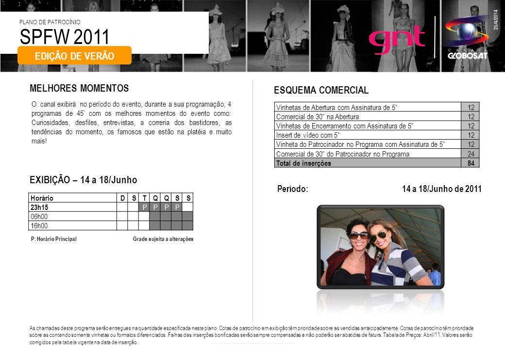 SPFW 2011 PLANO DE PATROCÍNIO 20/4/2014 O canal exibirá no período do evento, durante a sua programação, 4 programas de 45 com os melhores momentos do
