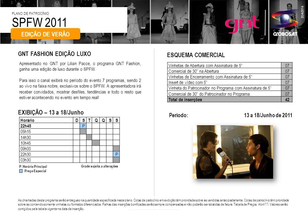 SPFW 2011 PLANO DE PATROCÍNIO 20/4/2014 Apresentado no GNT por Lilian Pacce, o programa GNT Fashion, ganha uma edição de luxo durante o SPFW. Para iss