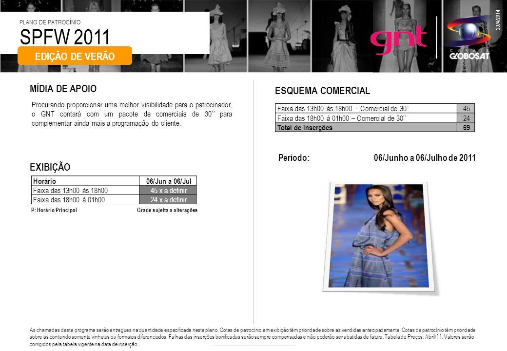 SPFW 2011 PLANO DE PATROCÍNIO 20/4/2014 Procurando proporcionar uma melhor visibilidade para o patrocinador, o GNT contará com um pacote de comerciais
