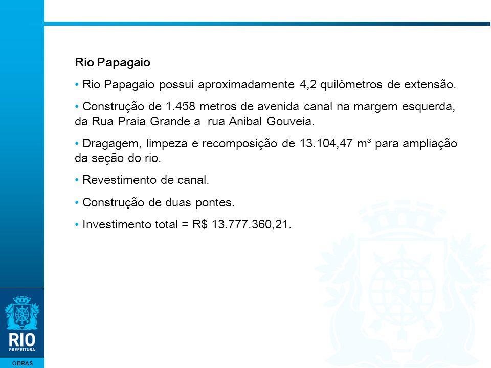 OBRAS Rio Papagaio Rio Papagaio possui aproximadamente 4,2 quilômetros de extensão. Construção de 1.458 metros de avenida canal na margem esquerda, da