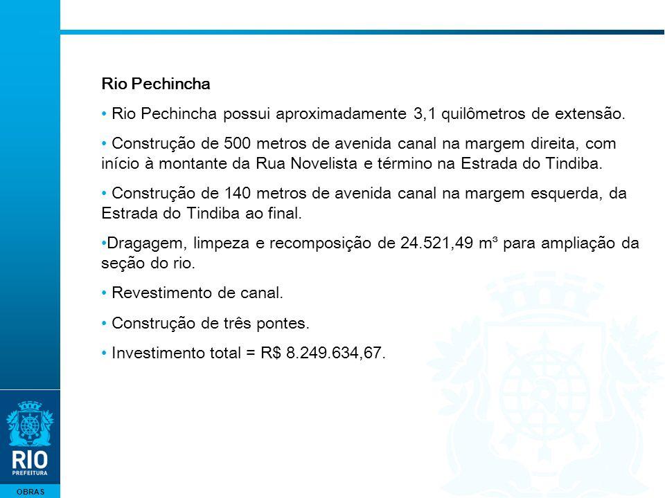 OBRAS Rio Pechincha Rio Pechincha possui aproximadamente 3,1 quilômetros de extensão. Construção de 500 metros de avenida canal na margem direita, com