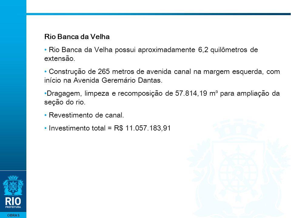 OBRAS Rio Banca da Velha Rio Banca da Velha possui aproximadamente 6,2 quilômetros de extensão. Construção de 265 metros de avenida canal na margem es