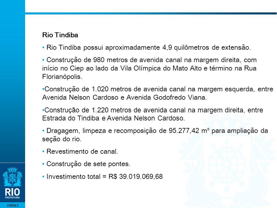 OBRAS Rio Tindiba Rio Tindiba possui aproximadamente 4,9 quilômetros de extensão. Construção de 980 metros de avenida canal na margem direita, com iní