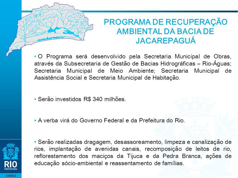 OBRAS O Programa será desenvolvido pela Secretaria Municipal de Obras, através da Subsecretaria de Gestão de Bacias Hidrográficas – Rio-Águas; Secretaria Municipal de Meio Ambiente; Secretaria Municipal de Assistência Social e Secretaria Municipal de Habitação.