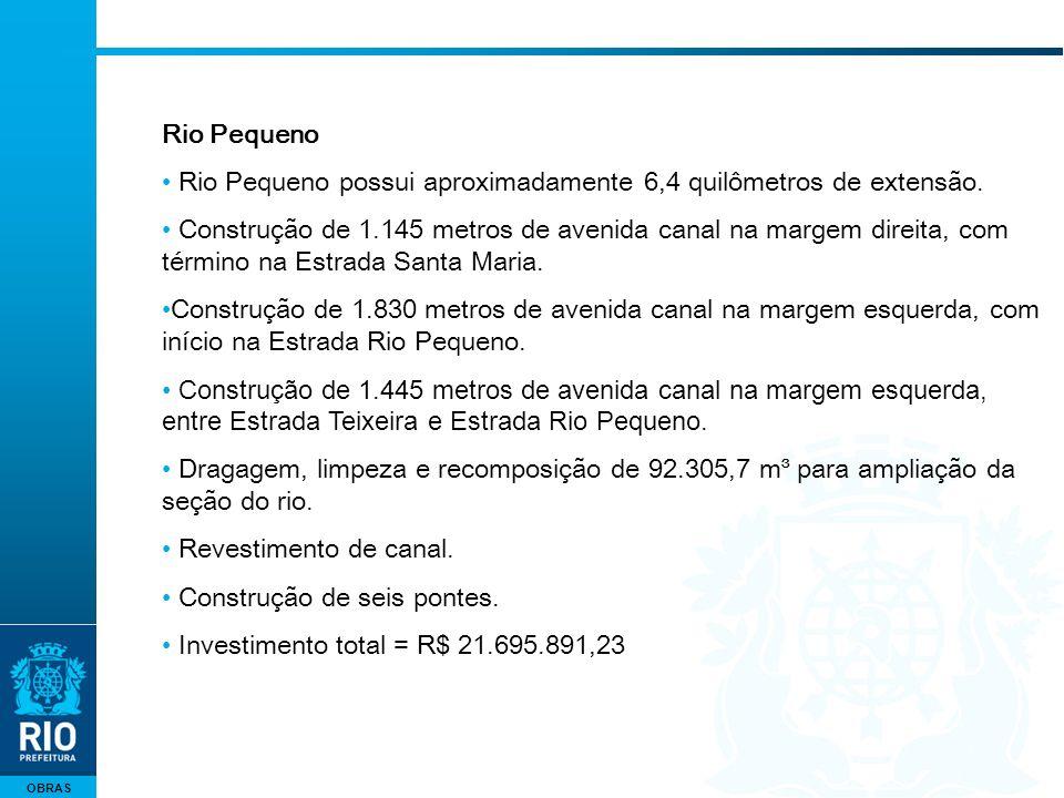 OBRAS Rio Pequeno Rio Pequeno possui aproximadamente 6,4 quilômetros de extensão. Construção de 1.145 metros de avenida canal na margem direita, com t