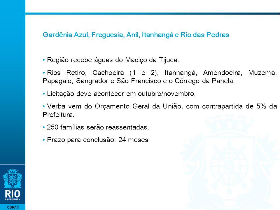 OBRAS Gardênia Azul, Freguesia, Anil, Itanhangá e Rio das Pedras Região recebe águas do Maciço da Tijuca. Rios Retiro, Cachoeira (1 e 2), Itanhangá, A