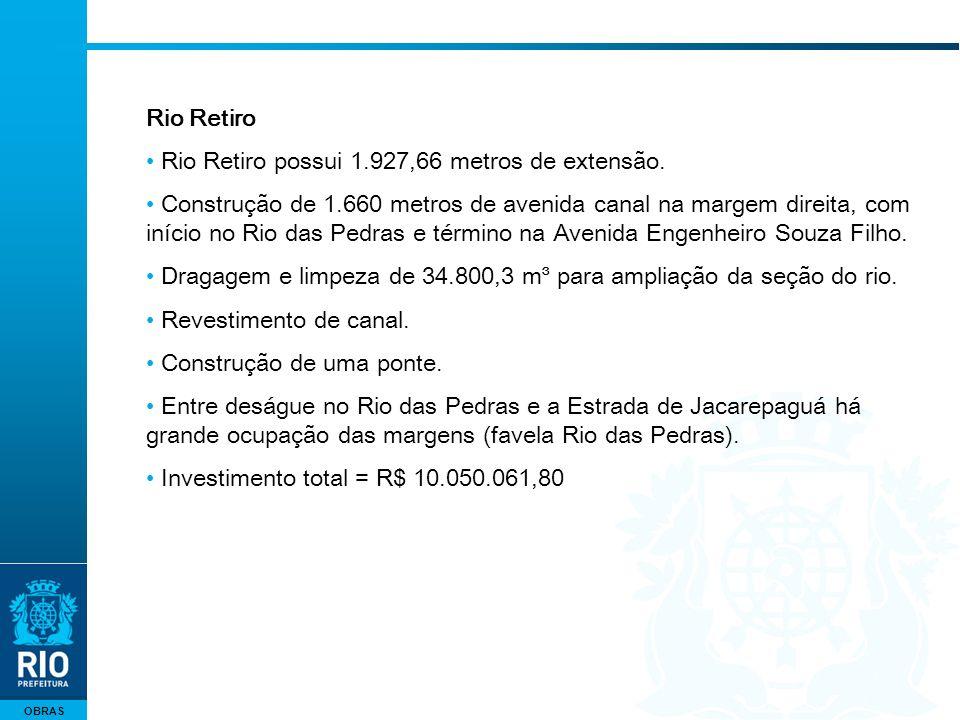 OBRAS Rio Retiro Rio Retiro possui 1.927,66 metros de extensão. Construção de 1.660 metros de avenida canal na margem direita, com início no Rio das P