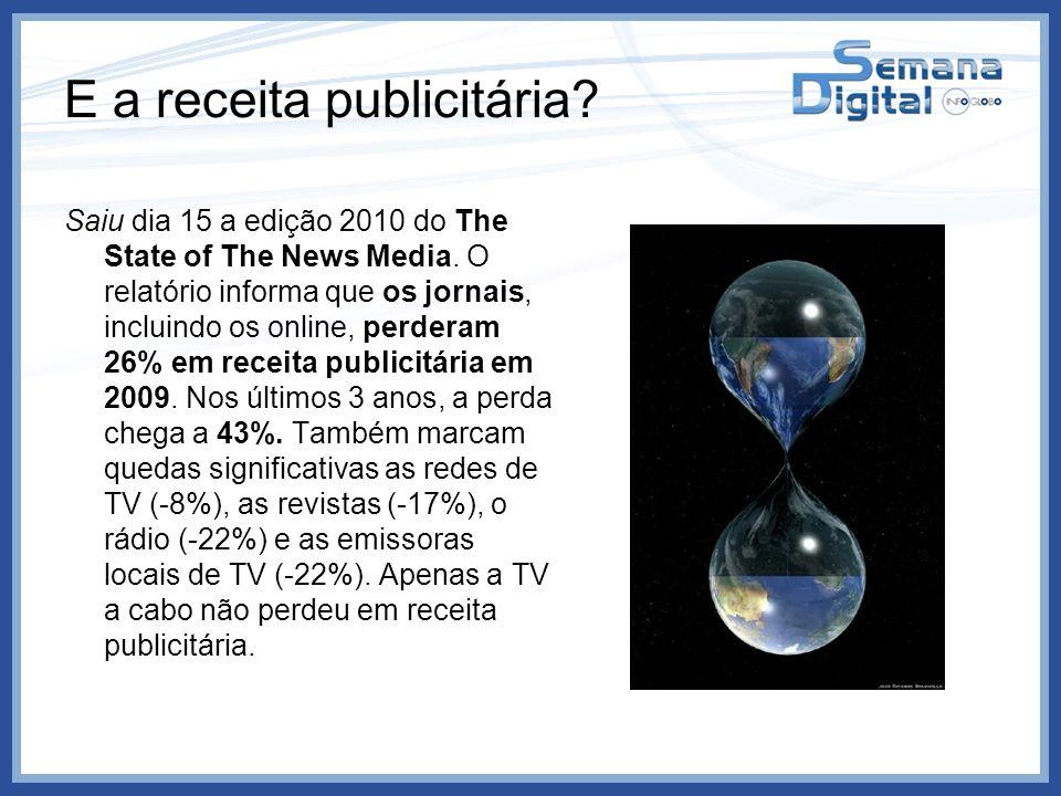E a receita publicitária? Saiu dia 15 a edição 2010 do The State of The News Media. O relatório informa que os jornais, incluindo os online, perderam