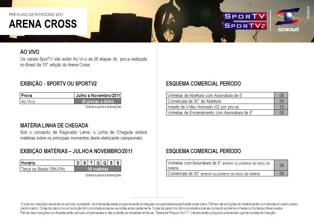 ARENA CROSS 20/4/2014 AO VIVO Os canais SporTV irão exibir Ao Vivo as 06 etapas do prova realizada no Brasil da 13° edição do Arena Cross. ESQUEMA COM