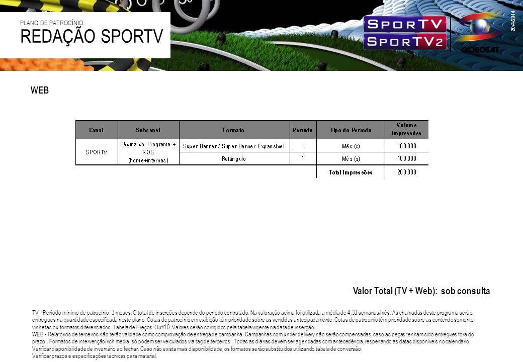 WEB 20/4/2014 REDAÇÃO SPORTV PLANO DE PATROCÍNIO Valor Total (TV + Web): sob consulta TV - Período mínimo de patrocínio: 3 meses. O total de inserções