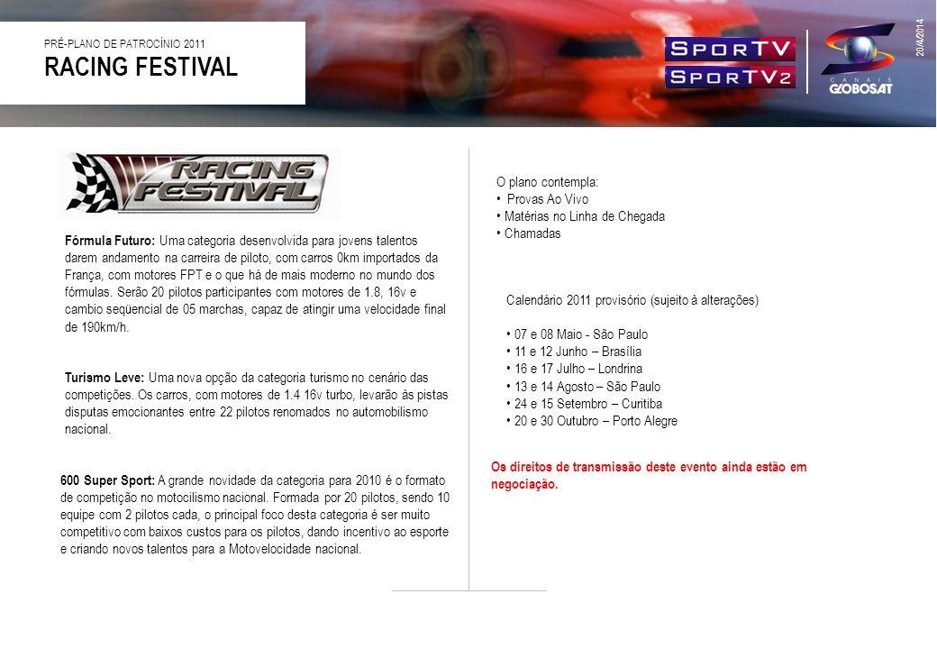 RACING FESTIVAL PRÉ-PLANO DE PATROCÍNIO 2011 Turismo Leve: Uma nova opção da categoria turismo no cenário das competições. Os carros, com motores de 1