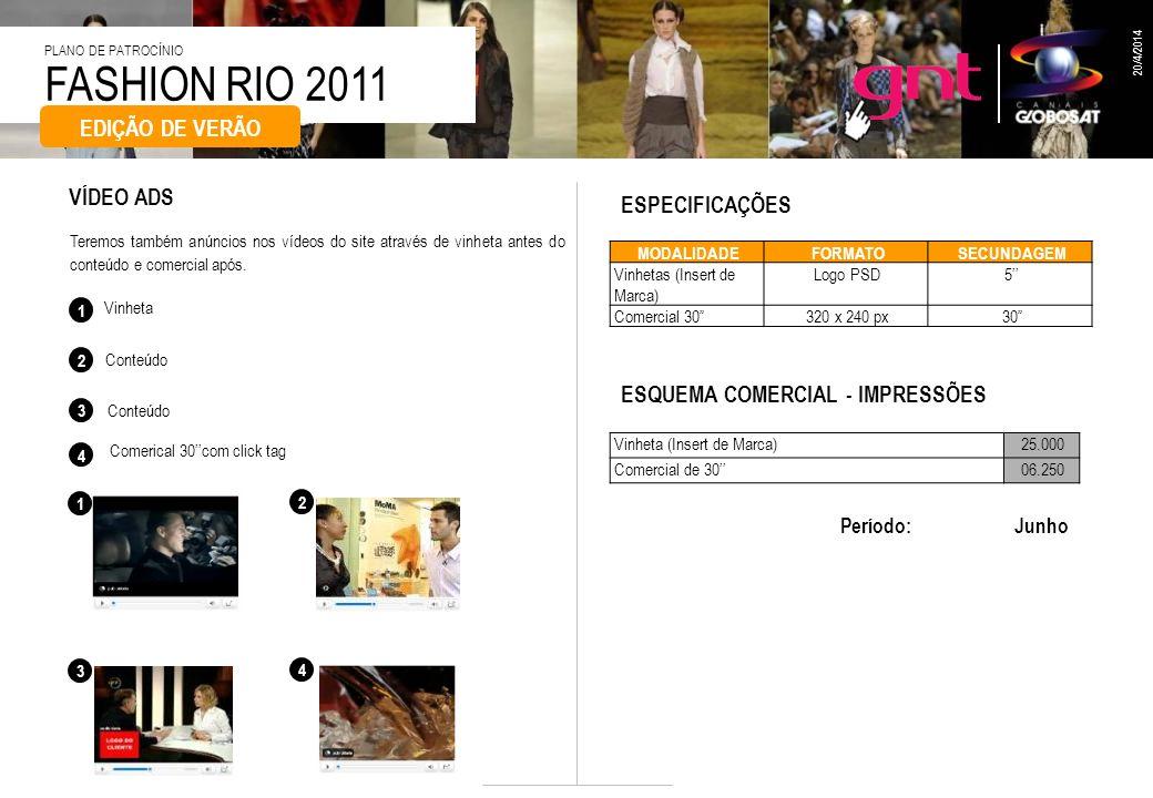 FASHION RIO 2011 PLANO DE PATROCÍNIO 20/4/2014 PROJETO WEB VÍDEO ADS Vinheta Conteúdo 2 3 1 Teremos também anúncios nos vídeos do site através de vinh