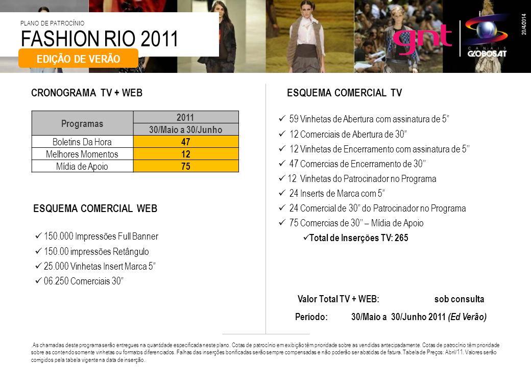 FASHION RIO 2011 PLANO DE PATROCÍNIO 20/4/2014 59 Vinhetas de Abertura com assinatura de 5 12 Comerciais de Abertura de 30 12 Vinhetas de Encerramento