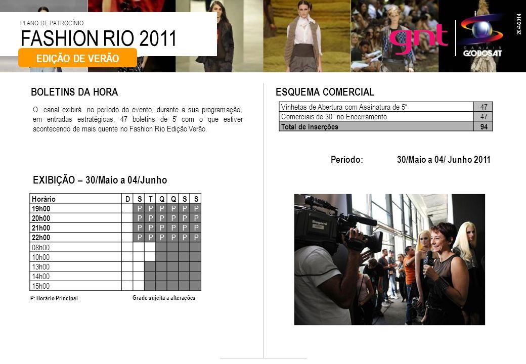 FASHION RIO 2011 PLANO DE PATROCÍNIO 20/4/2014 EXIBIÇÃO – 30/Maio a 04/Junho Período: 30/Maio a 04/ Junho 2011 BOLETINS DA HORAESQUEMA COMERCIAL Vinhe