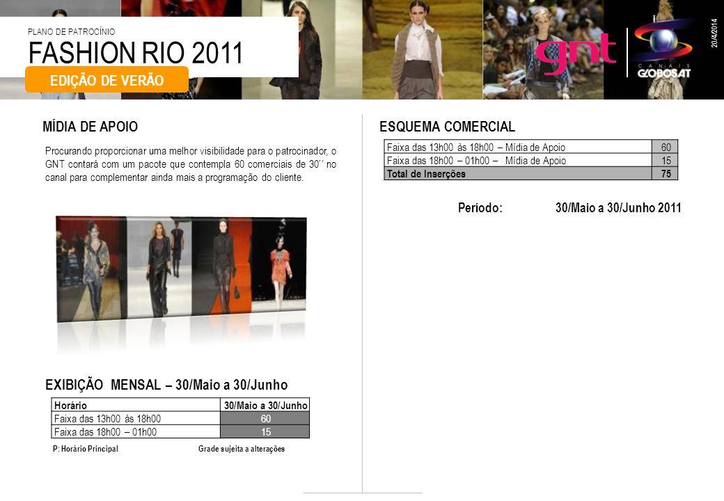FASHION RIO 2011 PLANO DE PATROCÍNIO 20/4/2014 EDIÇÃO DE VERÃO Procurando proporcionar uma melhor visibilidade para o patrocinador, o GNT contará com