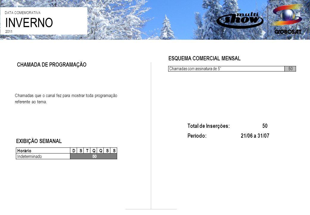 INVERNO DATA COMEMORATIVA 2011 CHAMADA DE PROGRAMAÇÃO ESQUEMA COMERCIAL MENSAL Chamadas com assinatura de 550 Chamadas que o canal fez para mostrar to