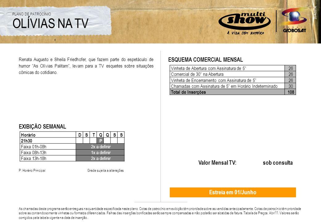 20/4/2014 WEB O comprometimento da entrega das impressões é para o período contratado Valor Mensal TV + Web: sob consulta Período mínimo de patrocínio: 3 meses.