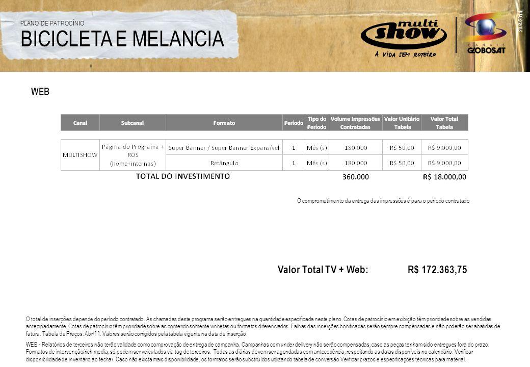 WEB O comprometimento da entrega das impressões é para o período contratado Valor Total TV + Web: R$ 172.363,75 O total de inserções depende do períod