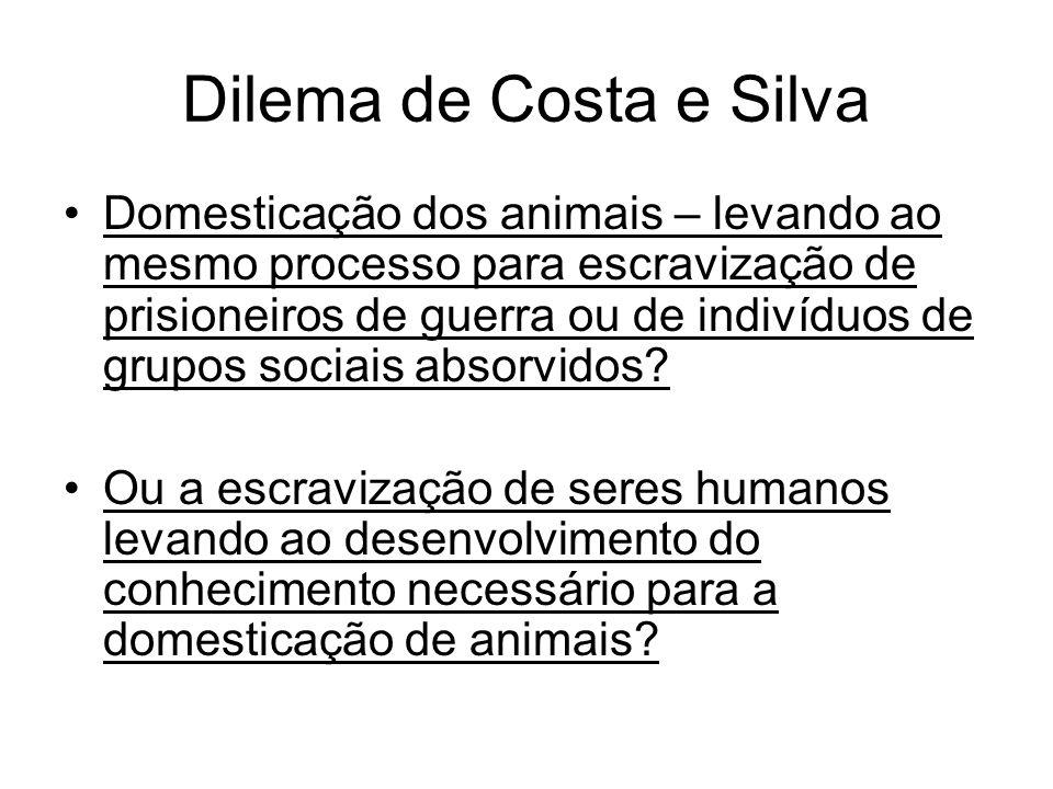 Dilema de Costa e Silva Domesticação dos animais – levando ao mesmo processo para escravização de prisioneiros de guerra ou de indivíduos de grupos so