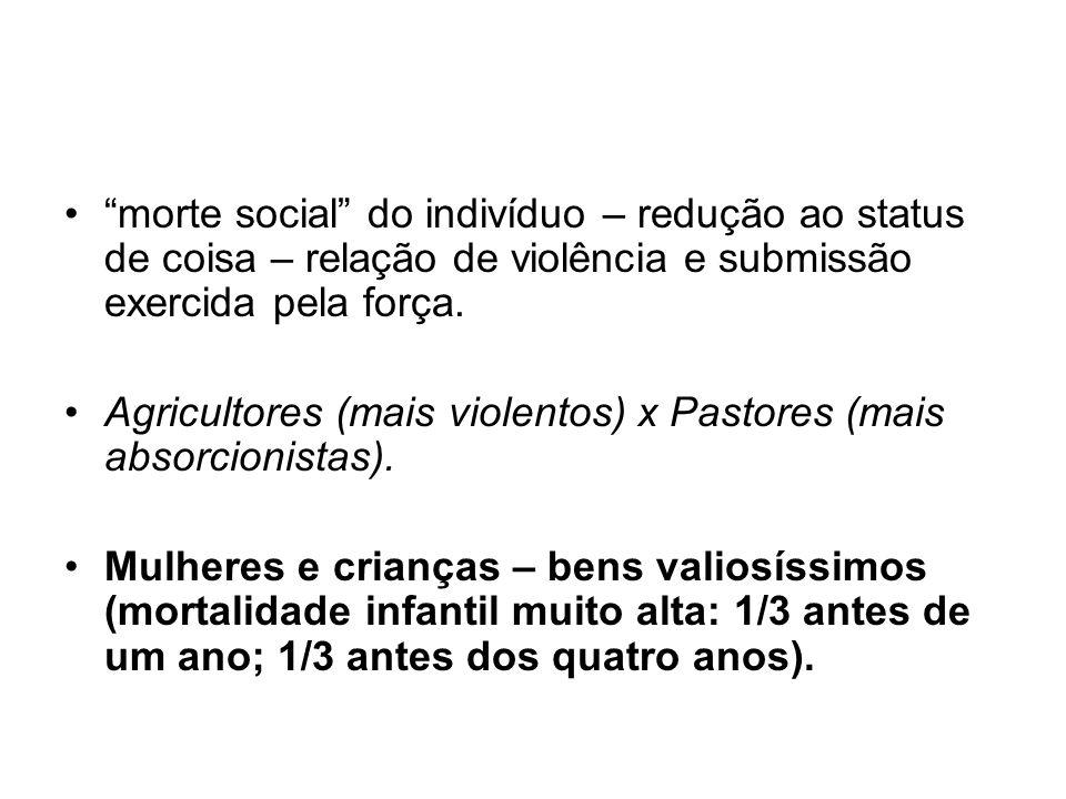 morte social do indivíduo – redução ao status de coisa – relação de violência e submissão exercida pela força. Agricultores (mais violentos) x Pastore