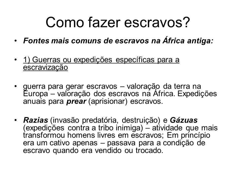 Como fazer escravos? Fontes mais comuns de escravos na África antiga: 1) Guerras ou expedições específicas para a escravização guerra para gerar escra