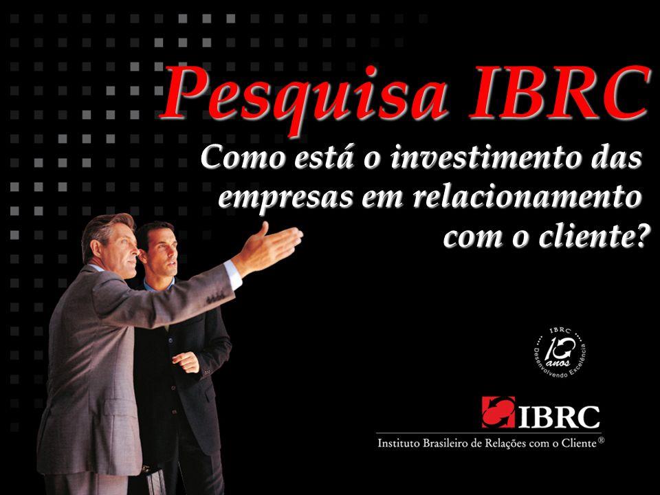 Pesquisa IBRC Pesquisa IBRC Como está o investimento das empresas em relacionamento com o cliente?