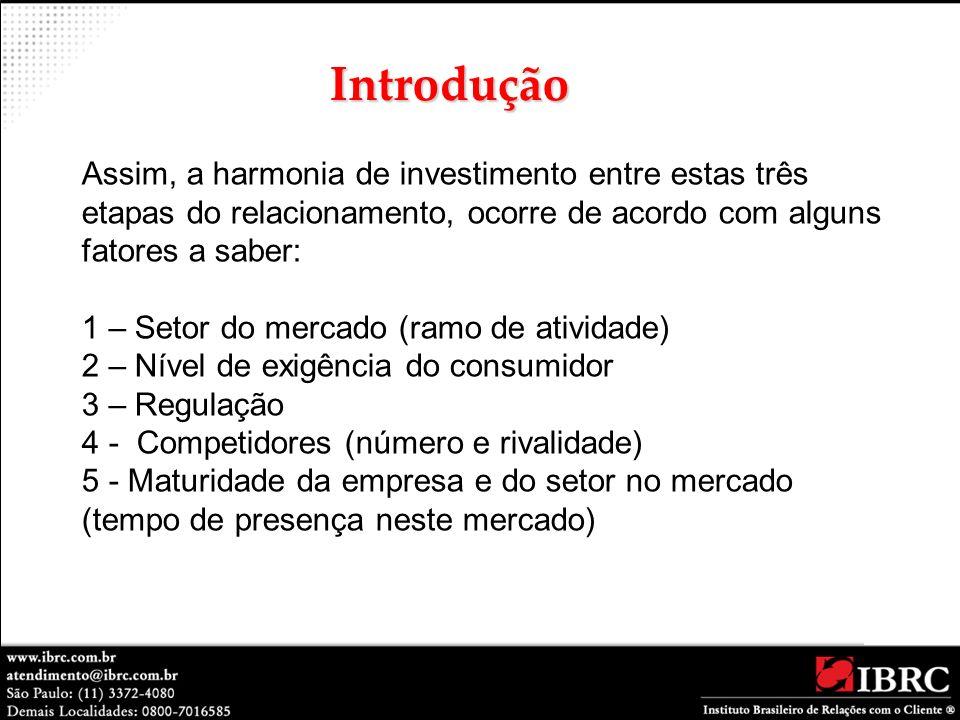 Assim, a harmonia de investimento entre estas três etapas do relacionamento, ocorre de acordo com alguns fatores a saber: 1 – Setor do mercado (ramo d
