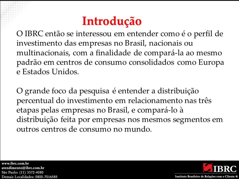 O IBRC então se interessou em entender como é o perfil de investimento das empresas no Brasil, nacionais ou multinacionais, com a finalidade de compar