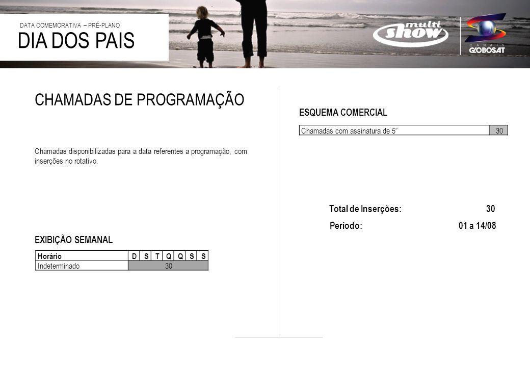 20/4/2014 Chamadas com assinatura de 530 DIA DOS PAIS DATA COMEMORATIVA – PRÉ-PLANO CHAMADAS DE PROGRAMAÇÃO Chamadas disponibilizadas para a data referentes a programação, com inserções no rotativo.