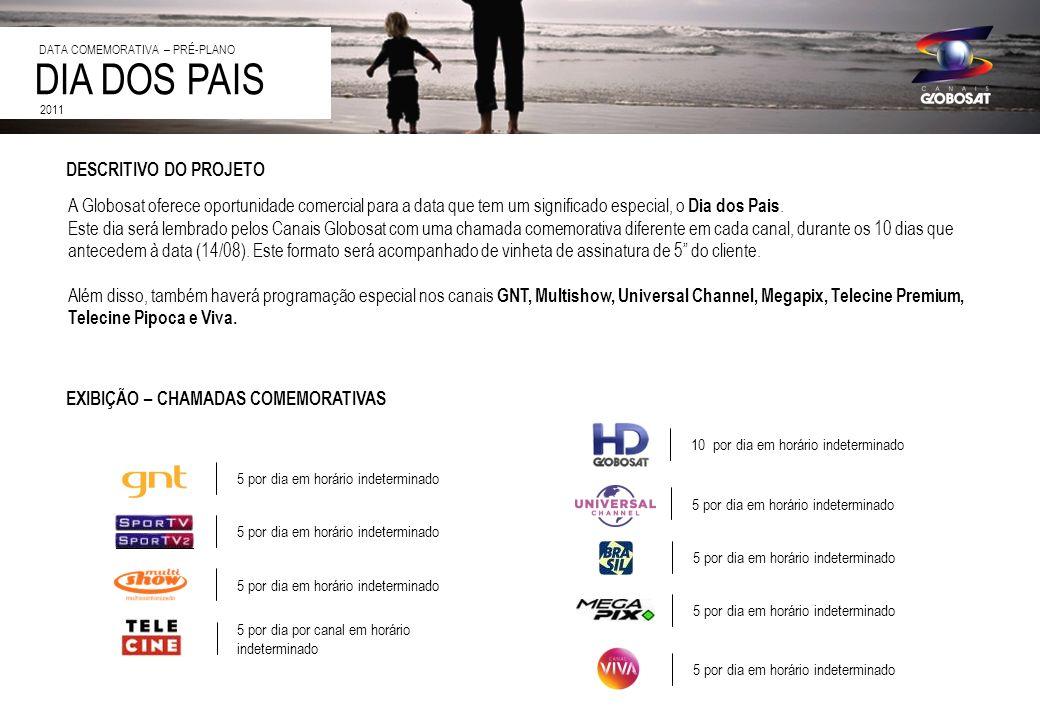 20/4/2014 DESCRITIVO DO PROJETO A Globosat oferece oportunidade comercial para a data que tem um significado especial, o Dia dos Pais. Este dia será l