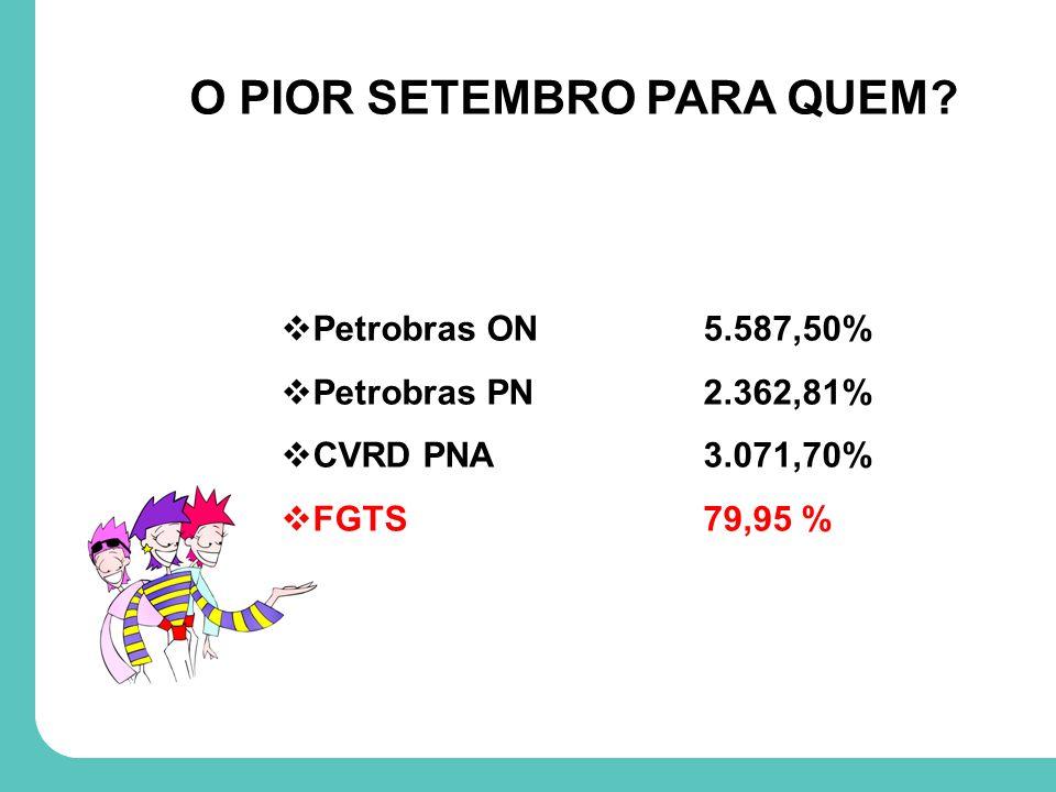 Petrobras ON5.587,50% Petrobras PN2.362,81% CVRD PNA3.071,70% FGTS79,95 % O PIOR SETEMBRO PARA QUEM