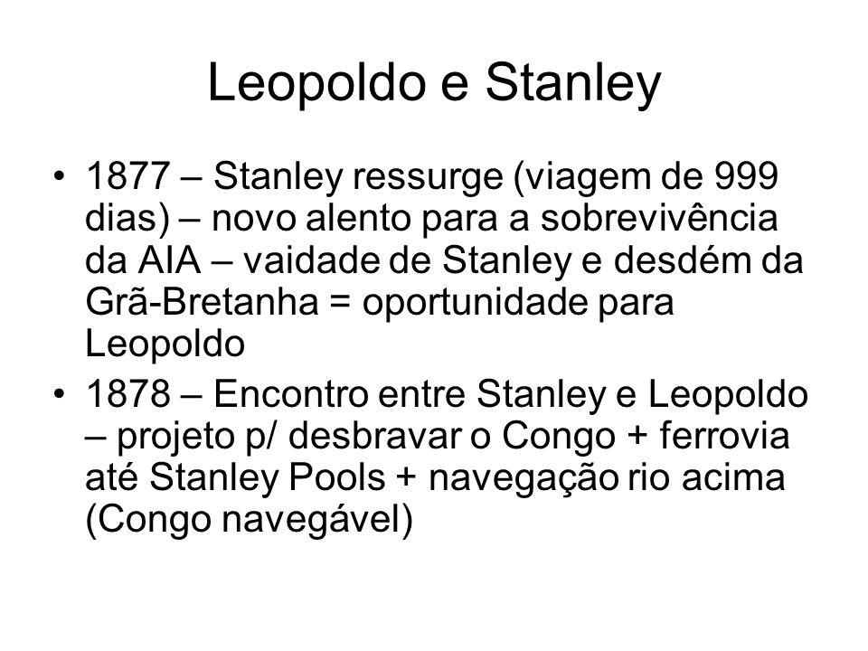 Leopoldo e Stanley 1877 – Stanley ressurge (viagem de 999 dias) – novo alento para a sobrevivência da AIA – vaidade de Stanley e desdém da Grã-Bretanh