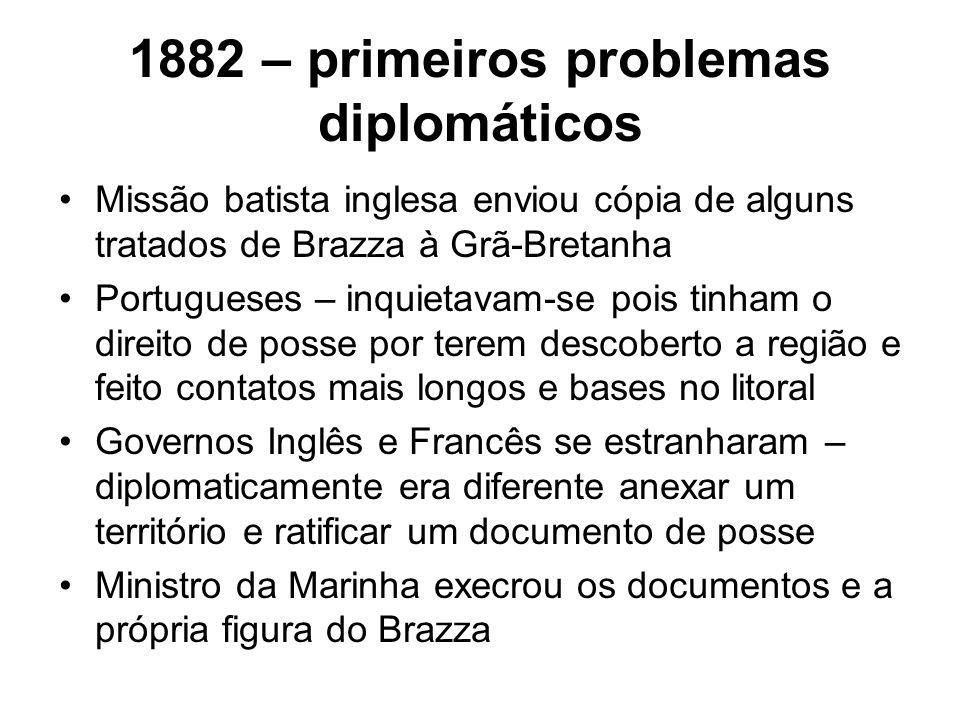 1882 – primeiros problemas diplomáticos Missão batista inglesa enviou cópia de alguns tratados de Brazza à Grã-Bretanha Portugueses – inquietavam-se p