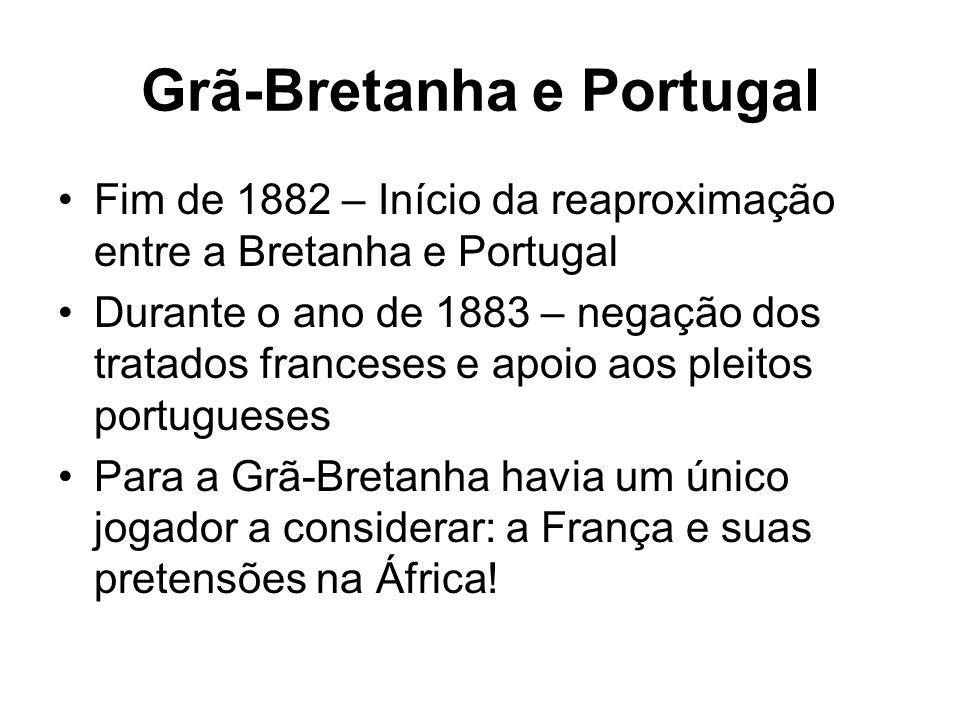 Grã-Bretanha e Portugal Fim de 1882 – Início da reaproximação entre a Bretanha e Portugal Durante o ano de 1883 – negação dos tratados franceses e apo