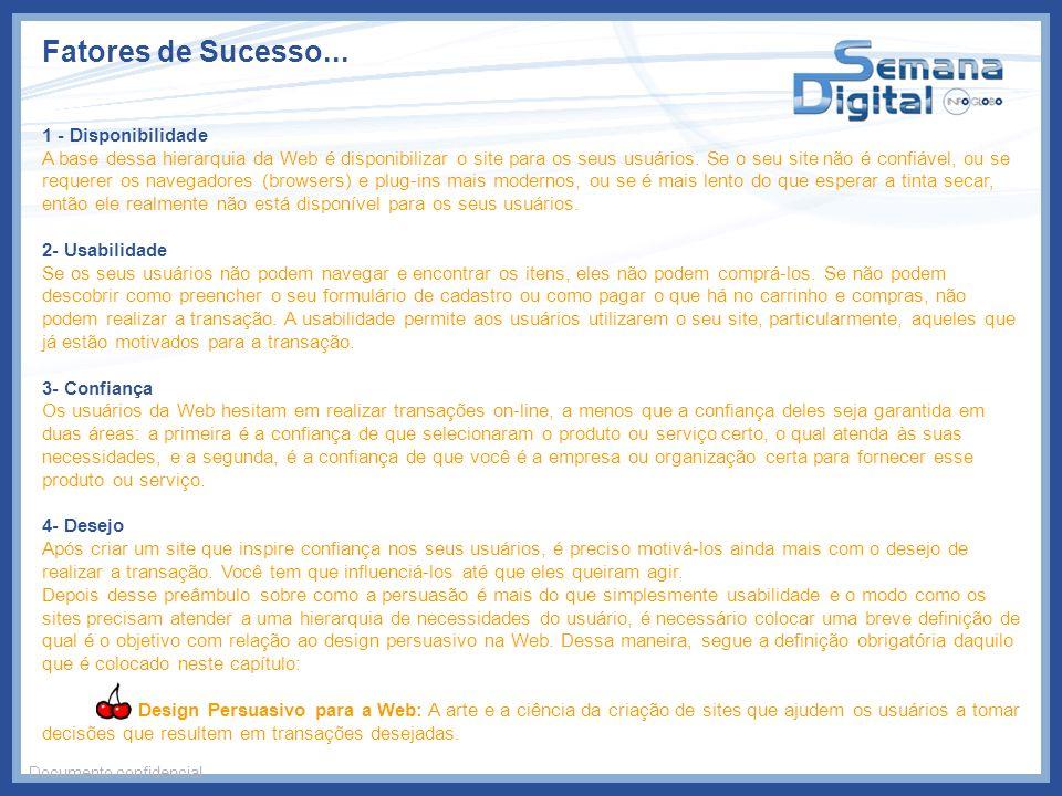 Fatores de Sucesso... Documento confidencial 1 - Disponibilidade A base dessa hierarquia da Web é disponibilizar o site para os seus usuários. Se o se