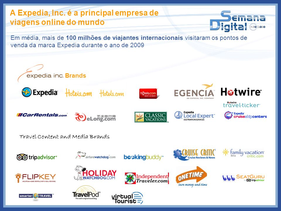Brands Travel Content and Media Brands A Expedia, Inc. é a principal empresa de viagens online do mundo Em média, mais de 100 milhões de viajantes int