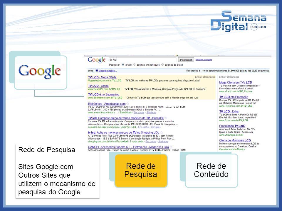 Links Patrocinados Rede de Pesquisa Rede de Conteúdo Resultado de Busca Rede de Pesquisa Sites Google.com Outros Sites que utilizem o mecanismo de pes