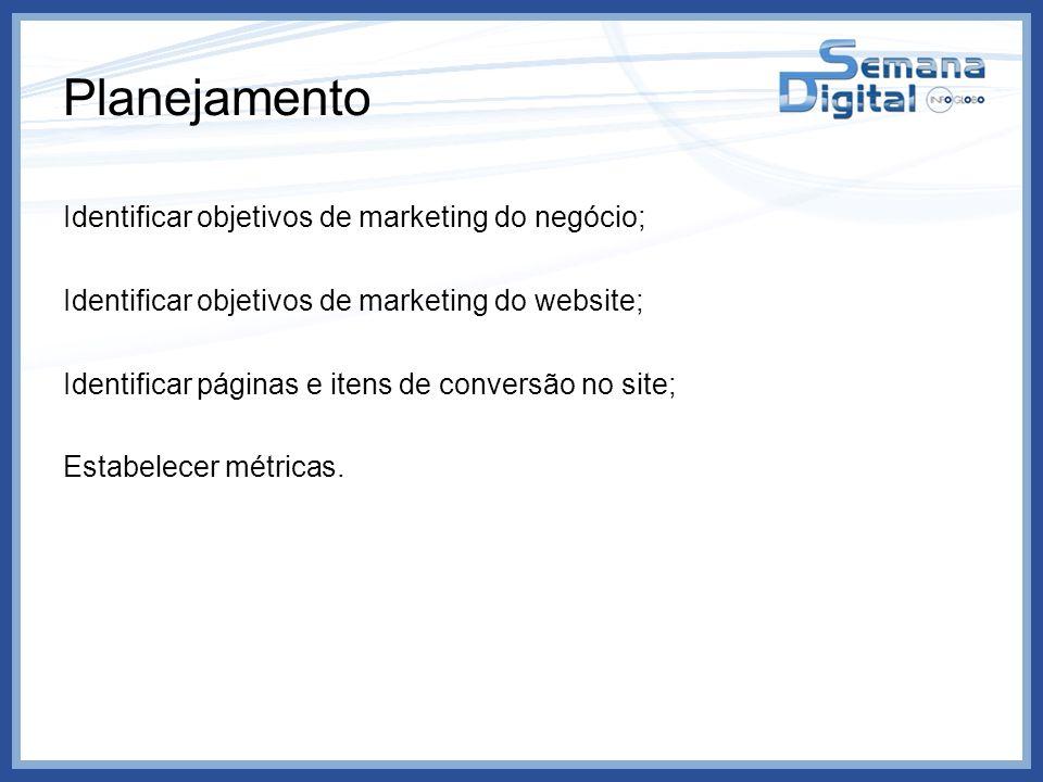 Planejamento Identificar objetivos de marketing do negócio; Identificar objetivos de marketing do website; Identificar páginas e itens de conversão no