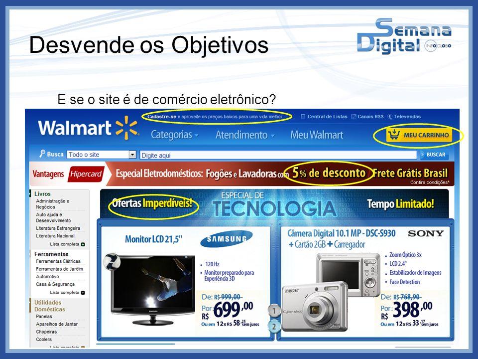 Desvende os Objetivos E se o site é de comércio eletrônico? Produtos Promoções Cadastros