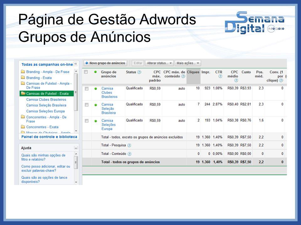 Página de Gestão Adwords Grupos de Anúncios
