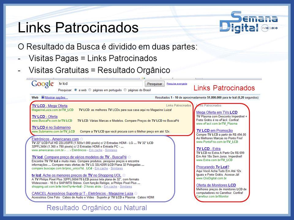 Links Patrocinados O Resultado da Busca é dividido em duas partes: -Visitas Pagas = Links Patrocinados -Visitas Gratuitas = Resultado Orgânico Links P