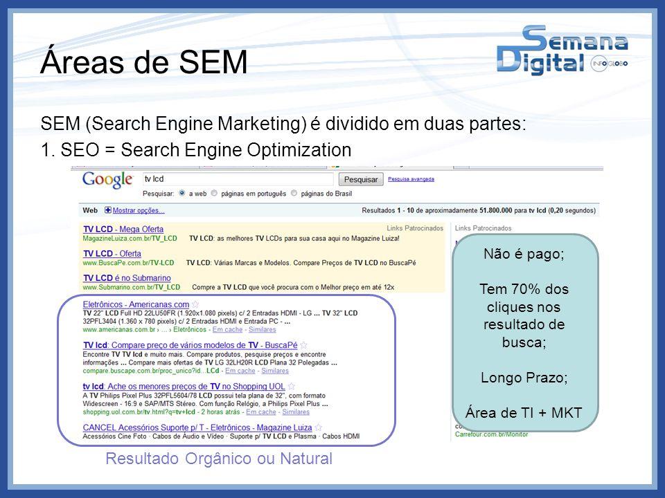 Áreas de SEM SEM (Search Engine Marketing) é dividido em duas partes: 1. SEO = Search Engine Optimization Não é pago; Tem 70% dos cliques nos resultad