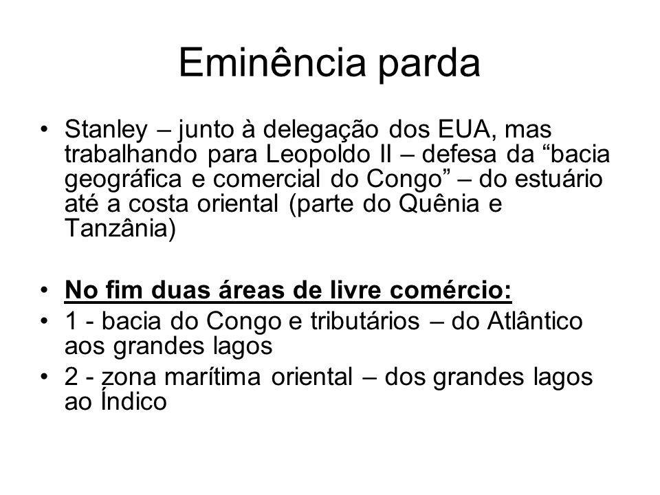 Eminência parda Stanley – junto à delegação dos EUA, mas trabalhando para Leopoldo II – defesa da bacia geográfica e comercial do Congo – do estuário até a costa oriental (parte do Quênia e Tanzânia) No fim duas áreas de livre comércio: 1 - bacia do Congo e tributários – do Atlântico aos grandes lagos 2 - zona marítima oriental – dos grandes lagos ao Índico