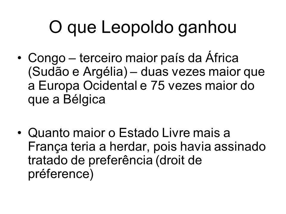 O que Leopoldo ganhou Congo – terceiro maior país da África (Sudão e Argélia) – duas vezes maior que a Europa Ocidental e 75 vezes maior do que a Bélgica Quanto maior o Estado Livre mais a França teria a herdar, pois havia assinado tratado de preferência (droit de préference)