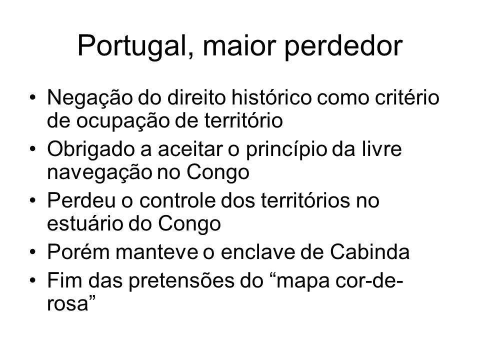 Portugal, maior perdedor Negação do direito histórico como critério de ocupação de território Obrigado a aceitar o princípio da livre navegação no Con