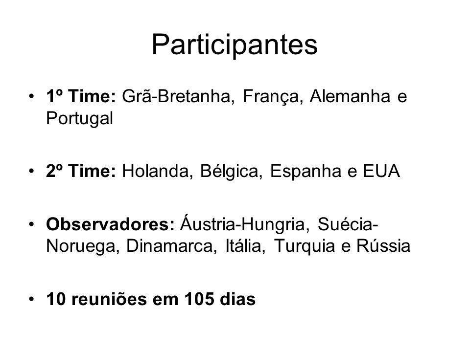 Participantes 1º Time: Grã-Bretanha, França, Alemanha e Portugal 2º Time: Holanda, Bélgica, Espanha e EUA Observadores: Áustria-Hungria, Suécia- Norue