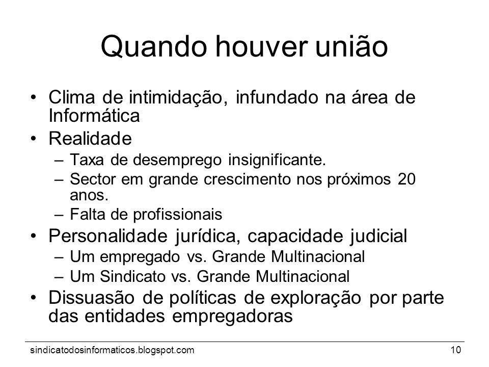sindicatodosinformaticos.blogspot.com10 Quando houver união Clima de intimidação, infundado na área de Informática Realidade –Taxa de desemprego insig